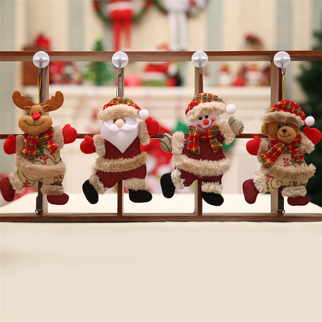 Merry Christmas Ornaments Santa Claus / Snowman Doll Hang Decoration