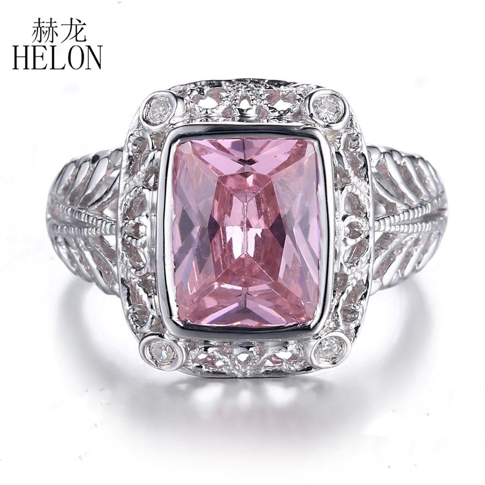 dd7995fe6c29 Cheap HELON sólido 10 k oro blanco impecable 8x10mm 5ct Topacio Rosa 0.1ct diamantes  anillo
