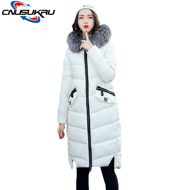2017 New Listed Big Fur Collar Long Coat Winter Jacket Women Parka Warm Cotton Female Large Size Hooded Thick Ladies Outwear new 2017 winter women coat long cotton jacket fur collar hooded 2 sides wear outerwear casual parka plus size manteau femme 1858