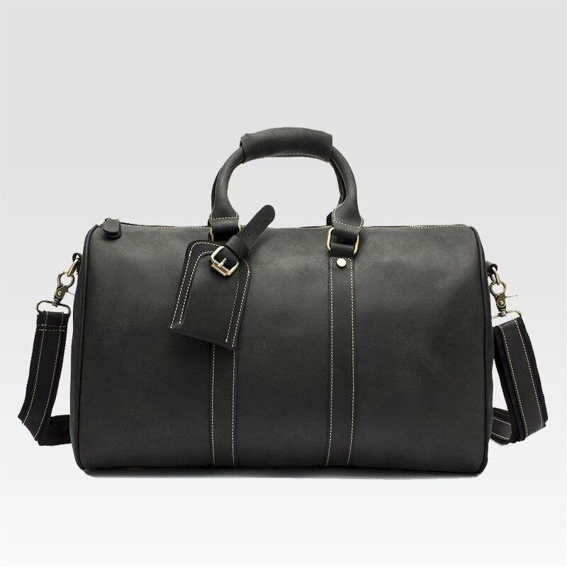 Hot Sale Genuine Leather Bag Fashion Top Layer Cow Leather Men Large Travel Bag Designer Simple Patchwork Black Hand Bag - 5
