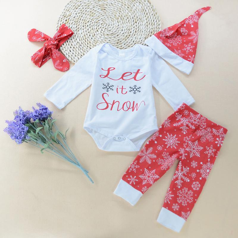 4pcs/set Baby Christmas Clothing Set Winter Long Sleeve Letter Printed Romper+Snowflake Pants+Hat+Headband Kids Girl Boy Outfits 3pcs set newborn infant baby boy girl clothes 2017 summer short sleeve leopard floral romper bodysuit headband shoes outfits