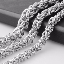 6mm 8mm 10mm Wide 7-40 Inches Custom Size Men's Cool Stainless Steel Silver Color Round Byzantine Chain Necklace Or Bracelet