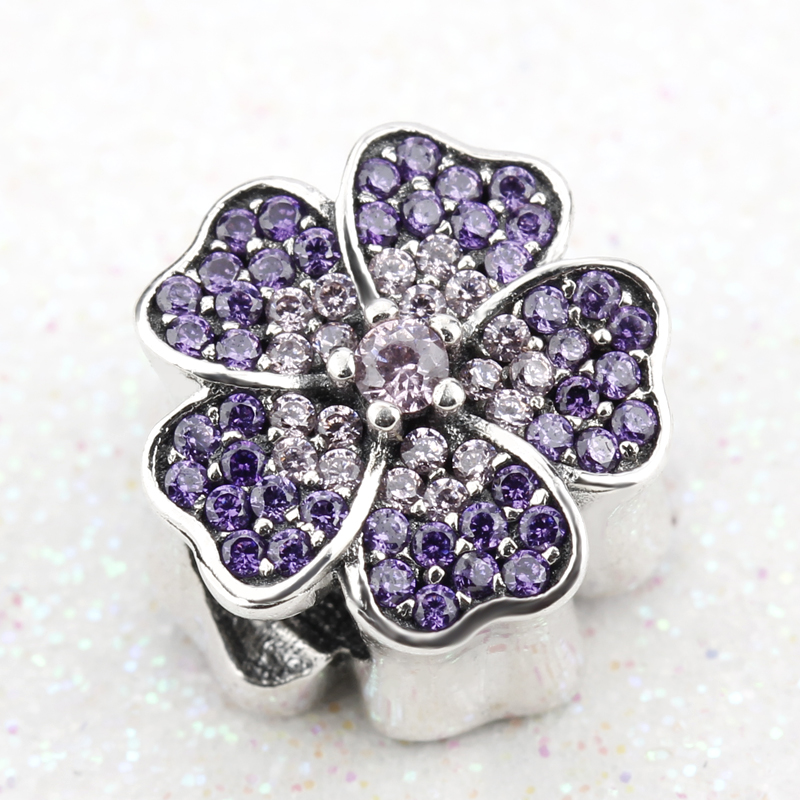 Sparkling 925 Sterling Silver Apple Blossom Pink Crystal & Purple Clear CZ Charm Bead Fit Bracelet DIY for Women Girls Gift