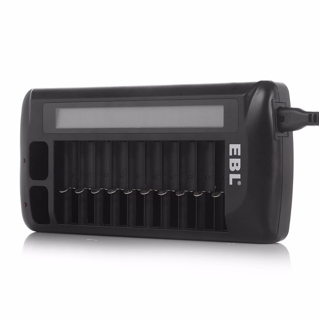 EBL 12 Bay LCD Rapid AAA Portable Charger For AA NiMH NiCD Battery Li-ion quick charge 9V Battery Charger + power cable US