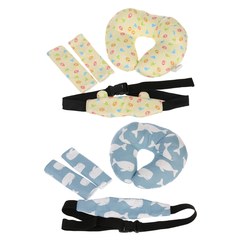 1 Set Baby Car Seat Pillow Head Support Safety Belt Shoulder Sleeve Protect Soft