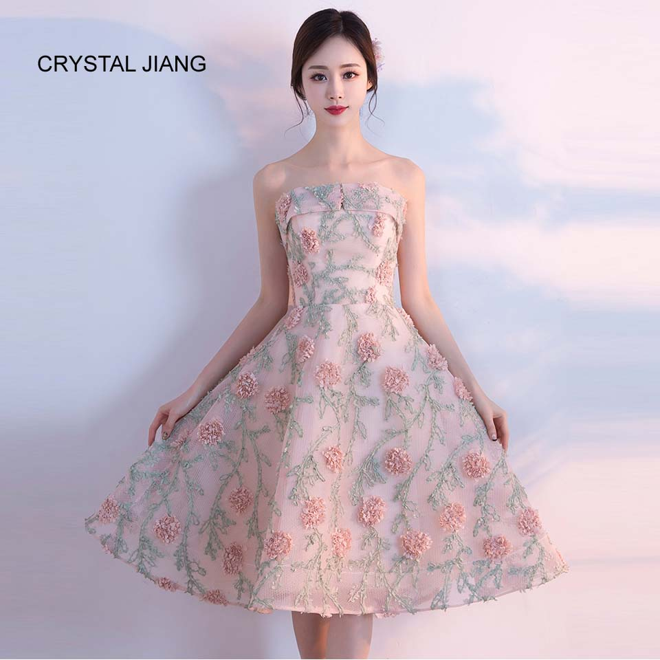 CRYSTAL JIANG 2018 Bruidsmeisje Jurk Strapless 3D Bloemen vestidos de - Bruiloft feestjurken - Foto 1