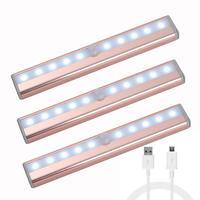 Motion Sensor Closet Light Rechargable 10 LED Under Cabinet Lighting Bar Removable Magnetic Strip Night Light(3 PACKS Rose Gold)