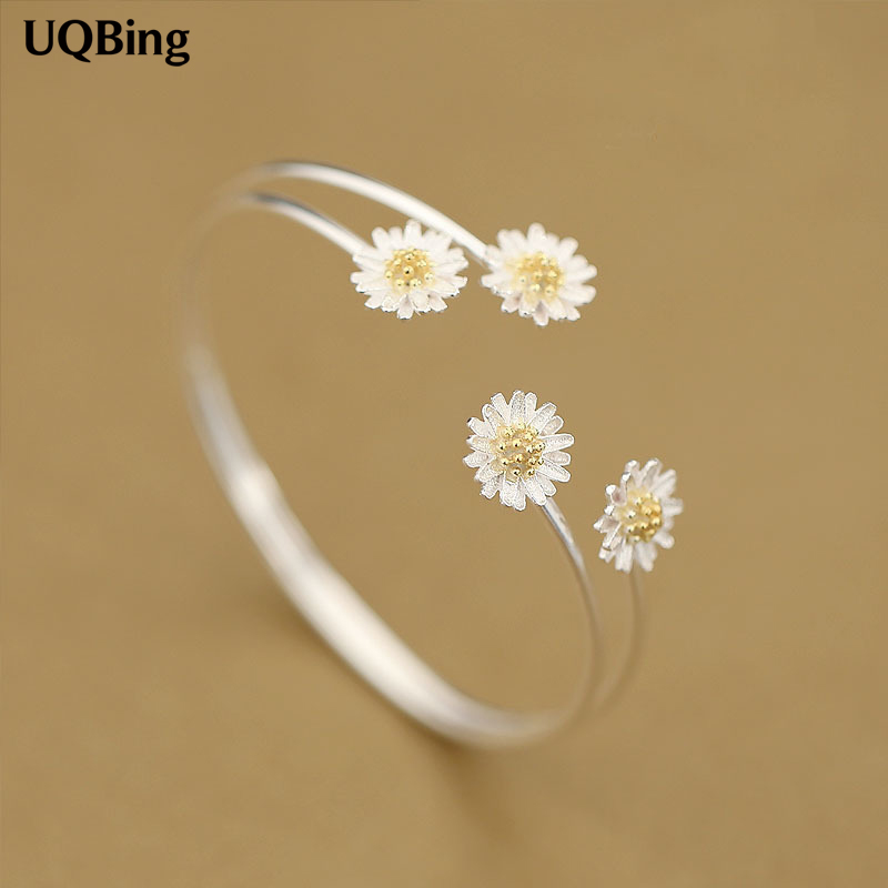 Fashion Beautiful 925 Sterling Silver Daisy Flower Bangles Cuff Bangles & Bracelets Women Accessories Srebrna bransoletka
