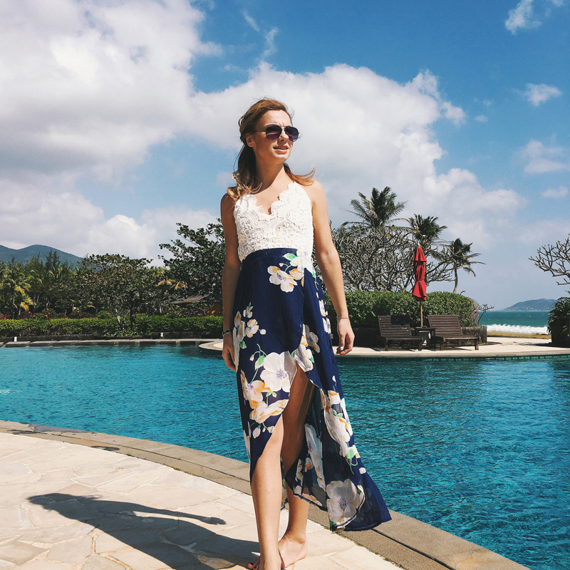 2018 New Sexy print lace summer dress Strap deep v neck high waist beach dresses women slit backless long dress