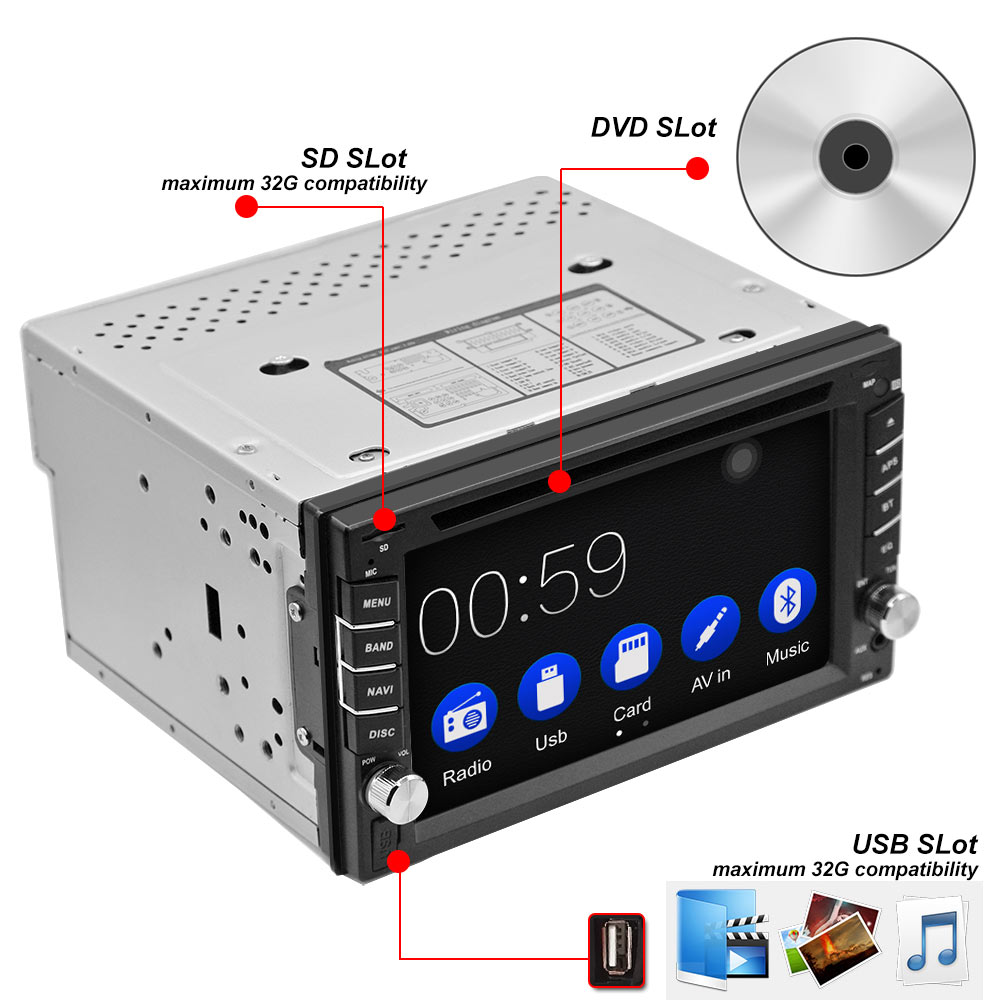Image 2 - 2DIN Car DVD Player Radio GPS Bluetooth Carplay Android Auto for X TRAIL Qashqai x trail juke for nissan SWC FM AM USB/SD-in Car Multimedia Player from Automobiles & Motorcycles