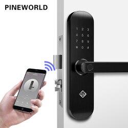 PINEWORLD biométrico de huellas dactilares bloqueo de seguridad de bloqueo inteligente con WiFi APP contraseña RFID desbloquear la puerta cerradura electrónica hoteles