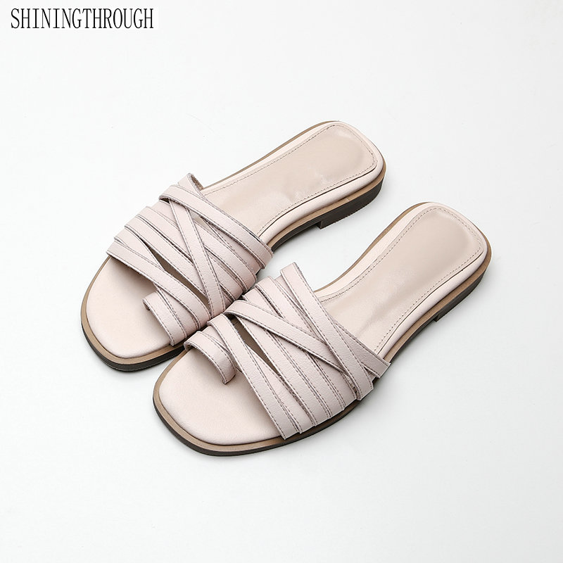 Real leather Women Flat Slippers Slip On summer shoes woman Mules Brand Designers 2019 Fashion Luxury