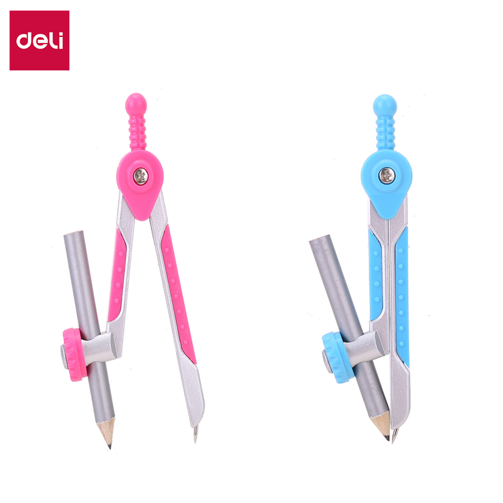 Deli E8615 School Compass Zamak Compass W/pencil Pink Blue