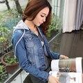 2016 primavera outono mulheres removível Cap Denim vestuário feminino curto Design Slim de manga comprida para mulheres moda