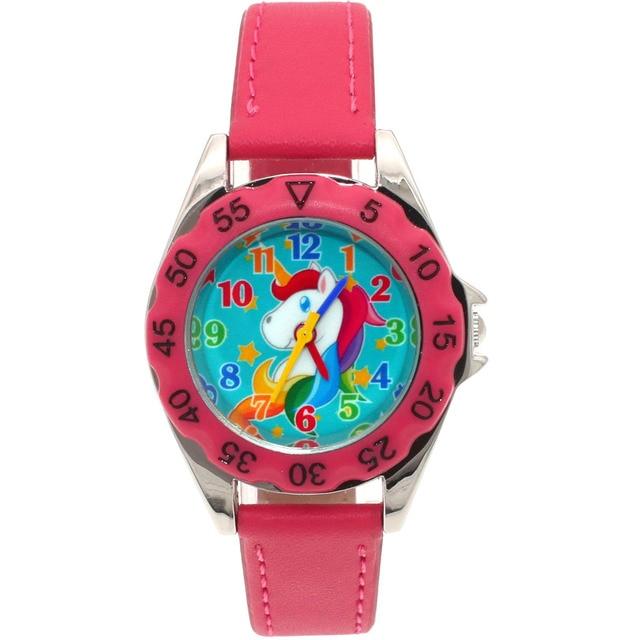 Cute Unicorn Kids Cartoon Watch for Kids Girls Boy Leather Wristwatch Quartz Wat