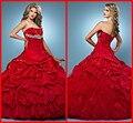 Custom Made Top Venda Frete Grátis Red Cor New Sexy Bola vestido Sexy Cor Ruffles Vestidos Quinceanera Vermelho 2017 Para 15 Ano