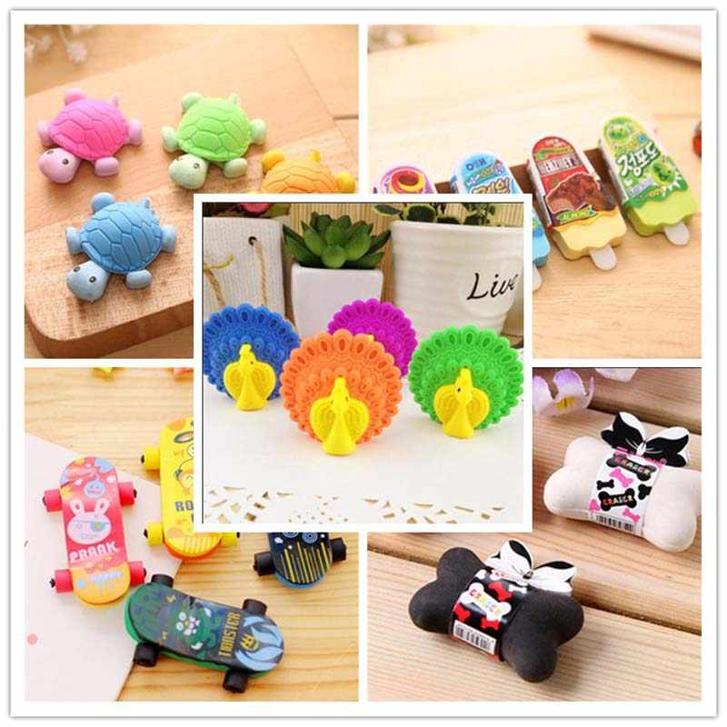 Creative Stationary 3D Cartoon Turtle Pencil Erasers Student School Prize Gifts