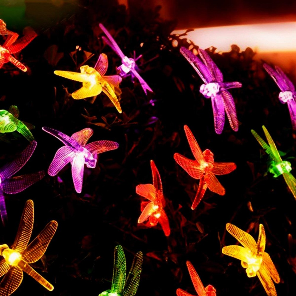 5m 20led string light led outdoor waterproof 220v dragonfly insect light for the courtyard birthday party Christmas decoration|Lighting Strings| |  - title=