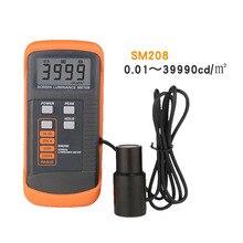 Medidor de brilho com tela sm208/m2, medidor de luminância de baixo consumo de energia com mini detector de luz