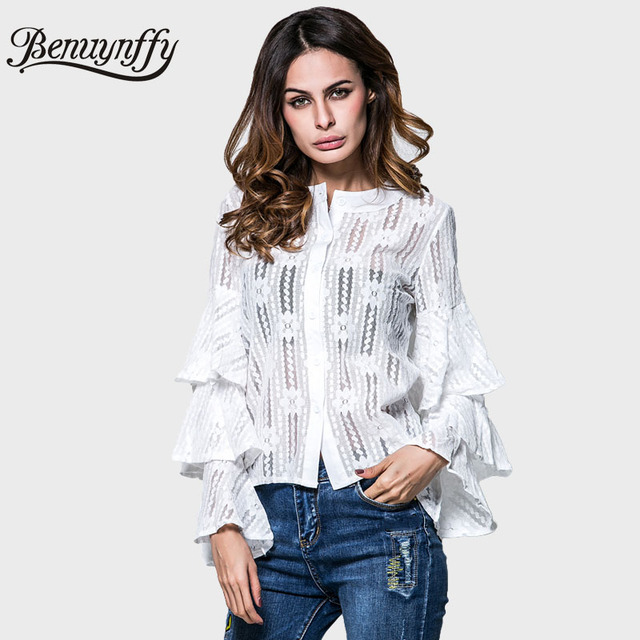 Benuynffy Women Elegant White Lace Blouse 2017 Spring Hollow Out Flower Shirt Women Tops Round Neck Flare Long Sleeve Blusas
