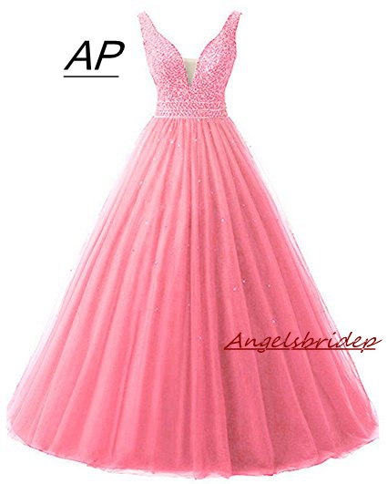 ANGELSBRIDEP Sexy V Neck Quinceanera Dresses 15 Years Sexy Off Shoulder Crystal Beading Formal Ball Gown