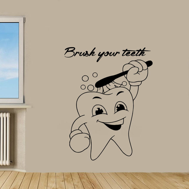 Tooth Dental Wall Decal Tooth Dentist Brush Your Teeth Wall Decor