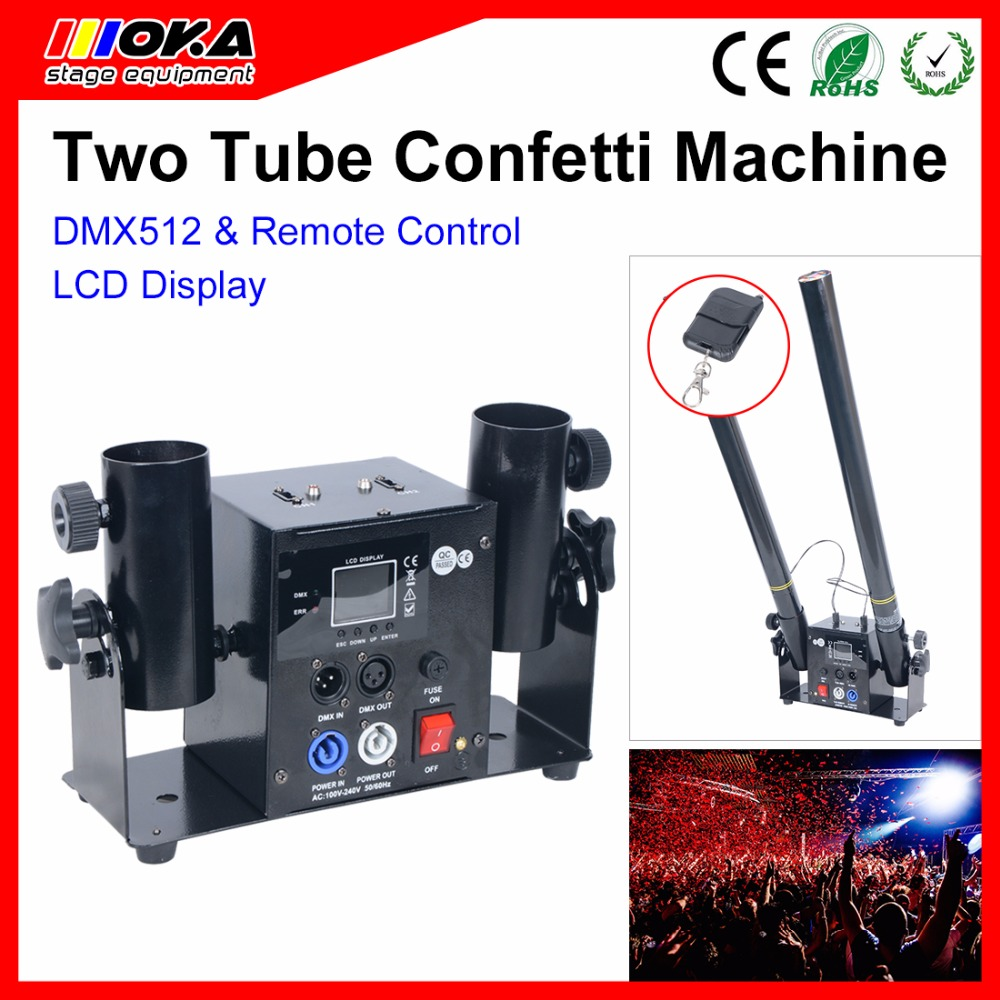 1pcs 2 head New Stage Confetti Shooter LCD display Stage Effect Confetti Streamer Launcher confetti machine for Party Wedding все цены