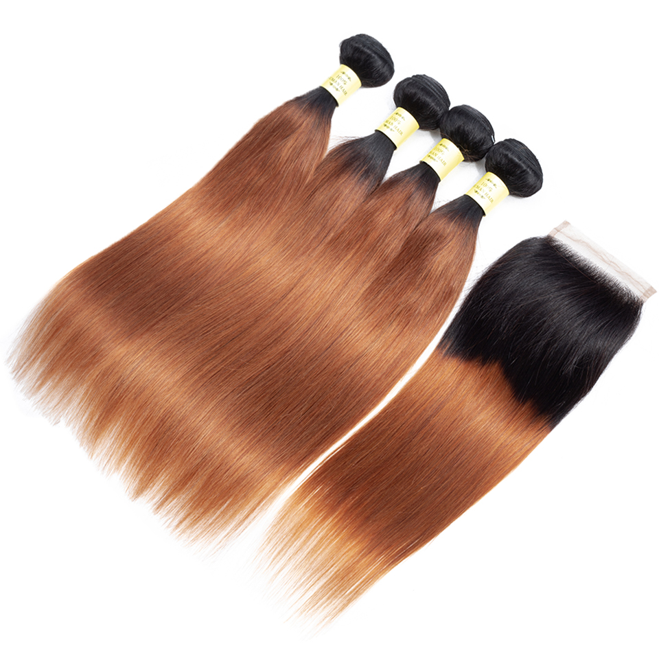 QueenLike Human Hair Products 3 4 Ombre Bundles With Closure Non Remy Color 1B 30 Peruvian