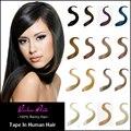 Пряди волос на ленте, 100% человеческий волос, 9 цветов, 50 г/шт., 100 г/шт., 16, 26 дюймов, прямые бразильские темно коричневые волосы Remi
