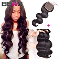 7A Peruvian Body Wave 3 Bundles With Closure Peruvian Virgin Hair Body Wave With Closure Human Hair Bundles With Lace Closures