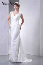 Actual Images V-Neck Lace Sheath Wedding Dresses Pleats Floor-Length Sweep Train Long Bridal Gowns