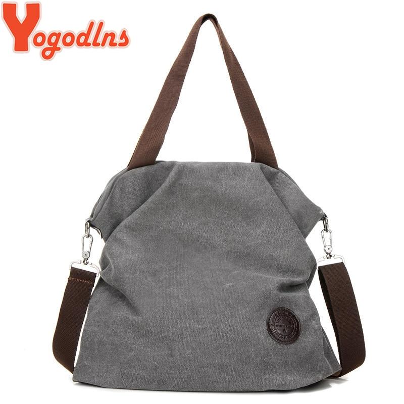 Yogodlns Canvas Tote Cloth-Bag Corduroy Casual Cotton Women Ladies Female Foldable