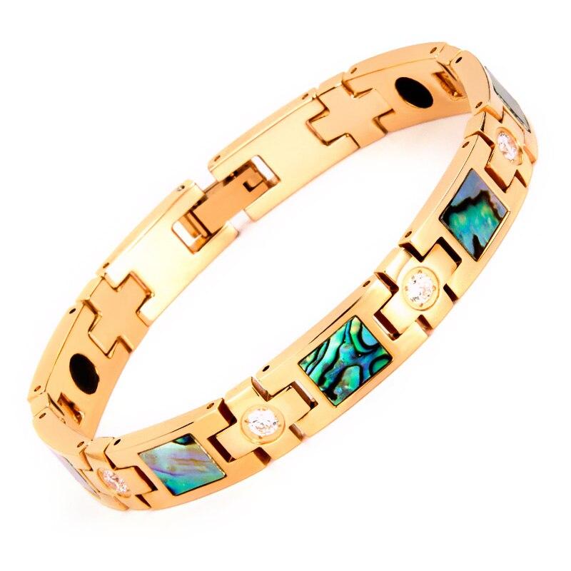 Noir magnétique & germanium poudre anti-statique bracelet d'énergie couleur shell affaires bijoux tendance personnalité rose or section