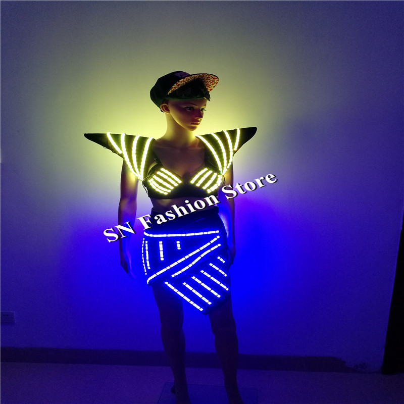 7955691ff04e6 SS2 2 Colorful light women dresses Sexy singer wears dance ballroom led  costumes catwalk stage show dj bra skirt shoulder vest-in Glow Party  Supplies from ...