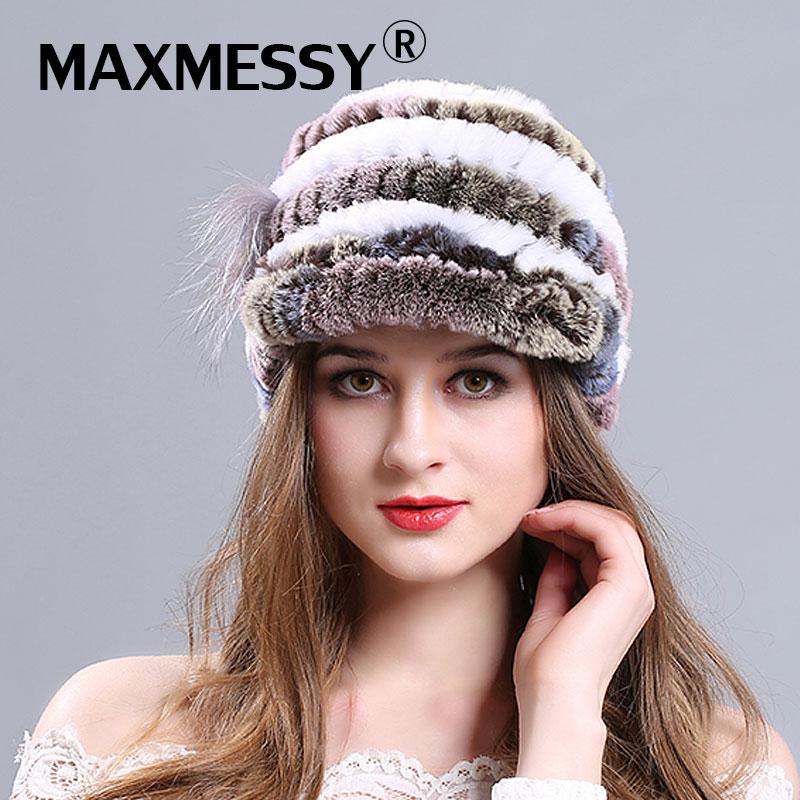 MAXMESSY Women Winter Rabbit Fur Hat For Girls Real Fur Hats Female Elegant Winter Hat Russian Fur Caps Female touca inverno