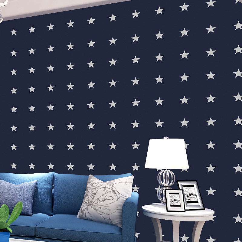 beibehang blue five-pointed star boy girl living room Background 3D wall papers home decor Bedroom Wallpaper Roll papel contact beibehang children wallpaper boy girl bedroom background wall cartoon star wall paper home decor wallpaper for kids room