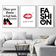 Nordic Style Canvas Paintings Wall Art Quotes Red Lip High Heels A4 Pictures Printing Fashion Posters Girl'S Room Home Decor(China)