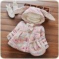 2016 outono inverno espessamento do revestimento do revestimento do bebê da menina do algodão das crianças com capuz menina Princesa floral de algodão + saco 2 pcs frete grátis