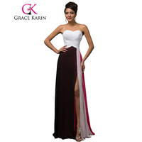 Exquisite Grace Karin Sweetheart Floor Length Long Colorful Formal Evening Dresses Luxury Banquet Gown Split Front