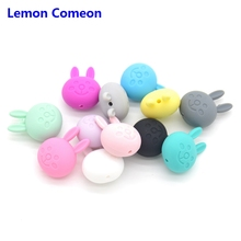Lemon Comeon Wholesale 10pcs/lot Elephant Baby Teething Beads Cartoon Bunny Mini Silicone Rodents DIY Chew Teether