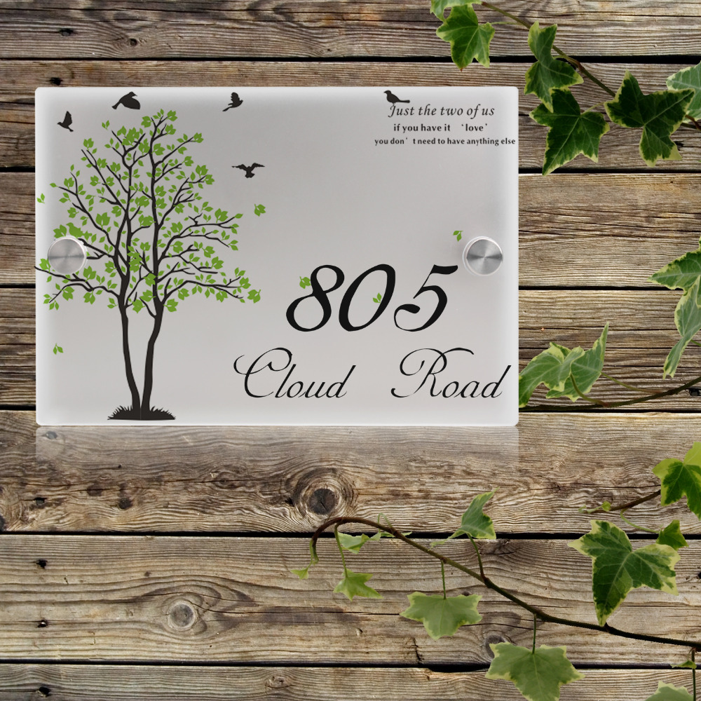 house number outdoor signs plaque street acrylic matte. Black Bedroom Furniture Sets. Home Design Ideas