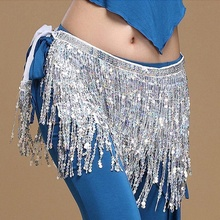 FEECOLOR 1PCS Hot Selling Belly Dance Dancer Costume Sequins Tassels Fringes Hip Scarf Belt Waist Skirt