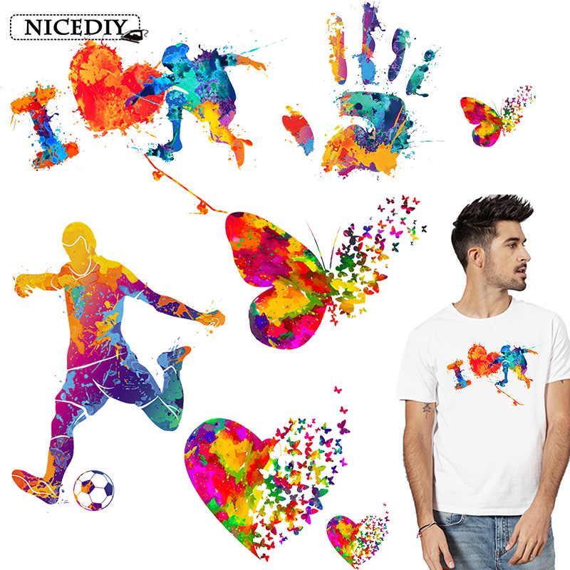 Nicediy Bunte Schmetterling Eisen Auf Patches Für Kleidung Wärme Transfer Vinyl Thermische Aufkleber DIY Waschbar Herz Patch Auf T-shirt