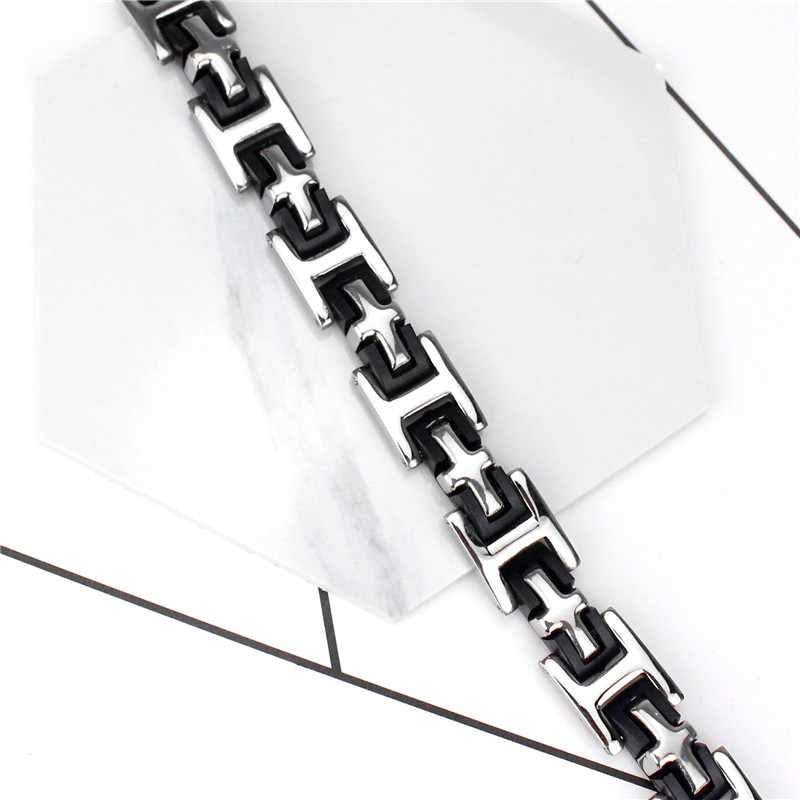 MD męski czarny krzyż srebrny ze stali nierdzewnej stal silikonowa bransoletka mankiet bransoletka łańcuch nadgarstek biżuteria