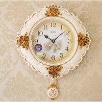 American Style Vintage Sculpture Floral Pattern Quartz Needle Glass Cover Wall Clock Premium Tea Room Art
