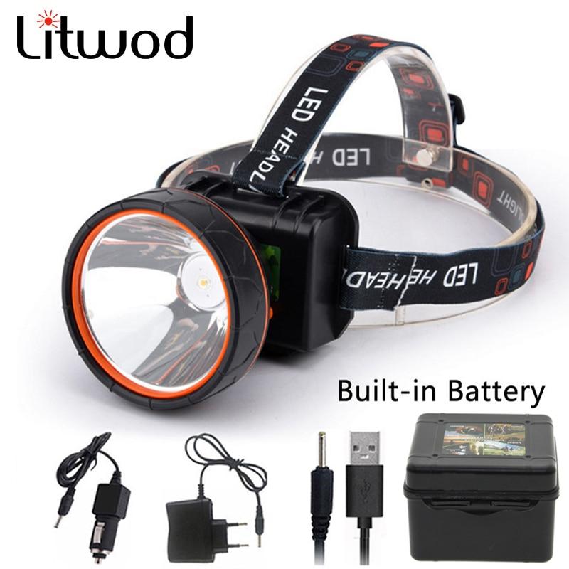 Litwod T6 Head Light Led Bright Headlamp Head Flashlight LED Headlight Build-in Rechargeable Battery Head Lamp For Fishing Z20