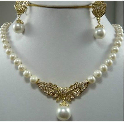 Charmin 8 9mm White Akoya Pearl necklace & earring Set >2017 watch Quartz stone CZ crystal