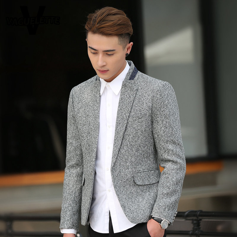 07bcb1dad47 Tweed Mens Grey Blazer Plus Size Skinny Korean Style Fashion Mens Clothes  Casual Single Button Blazer Jacket Homme M 5XL-in Blazers from Men s  Clothing on ...