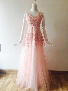 Image 4 - Vestido 웨딩 섹시 댄스 파티 드레스 민소매 자수 신부 들러리 드레스 긴 원사 메쉬 드레스 연회 웨딩 드레스 파티