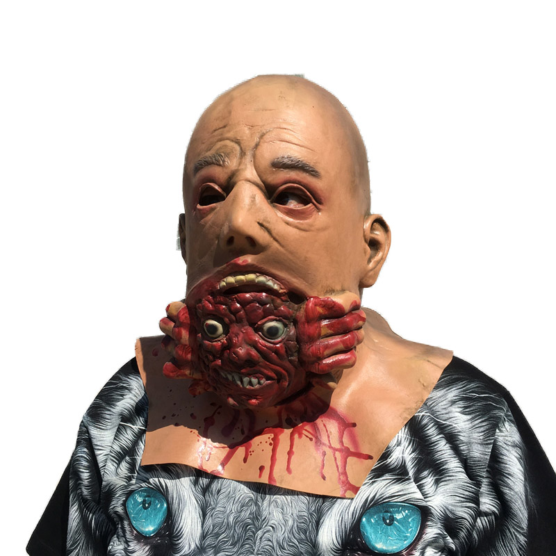 latex bald big ghost mask biochemical terror zombie headgear halloween horror zombie head party mask skull dmon dress fancy ball in party masks from home